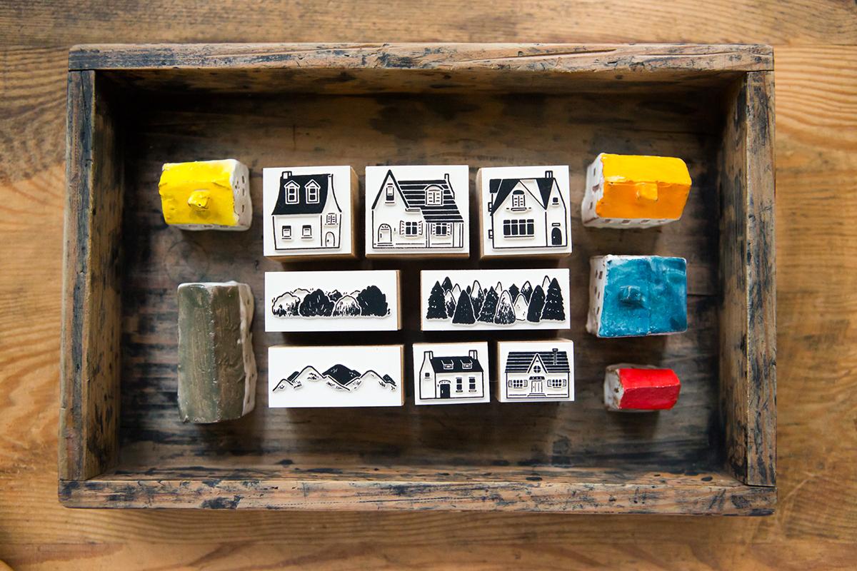 小鎮手記 自黏印章組 - 色彩工坊系列