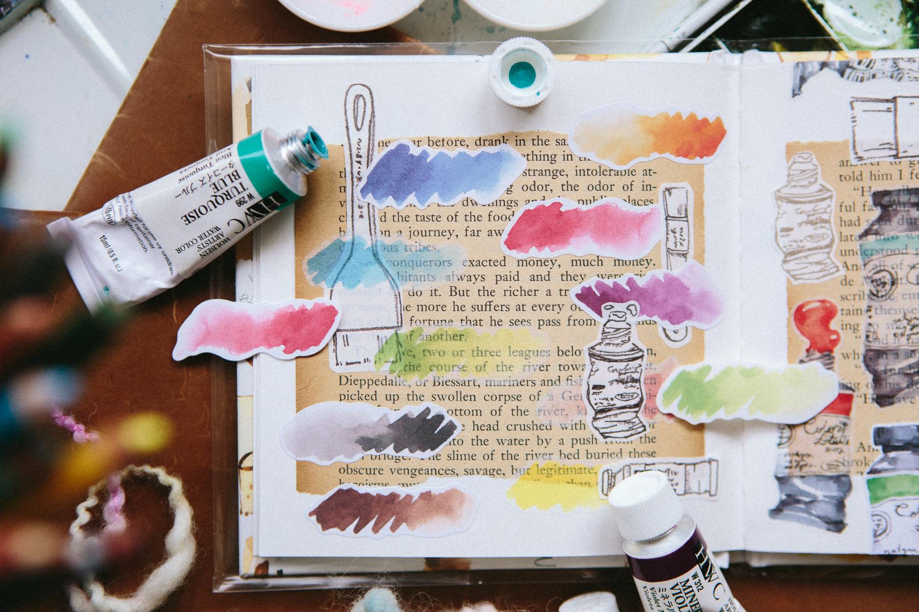 水彩筆觸 貼紙包