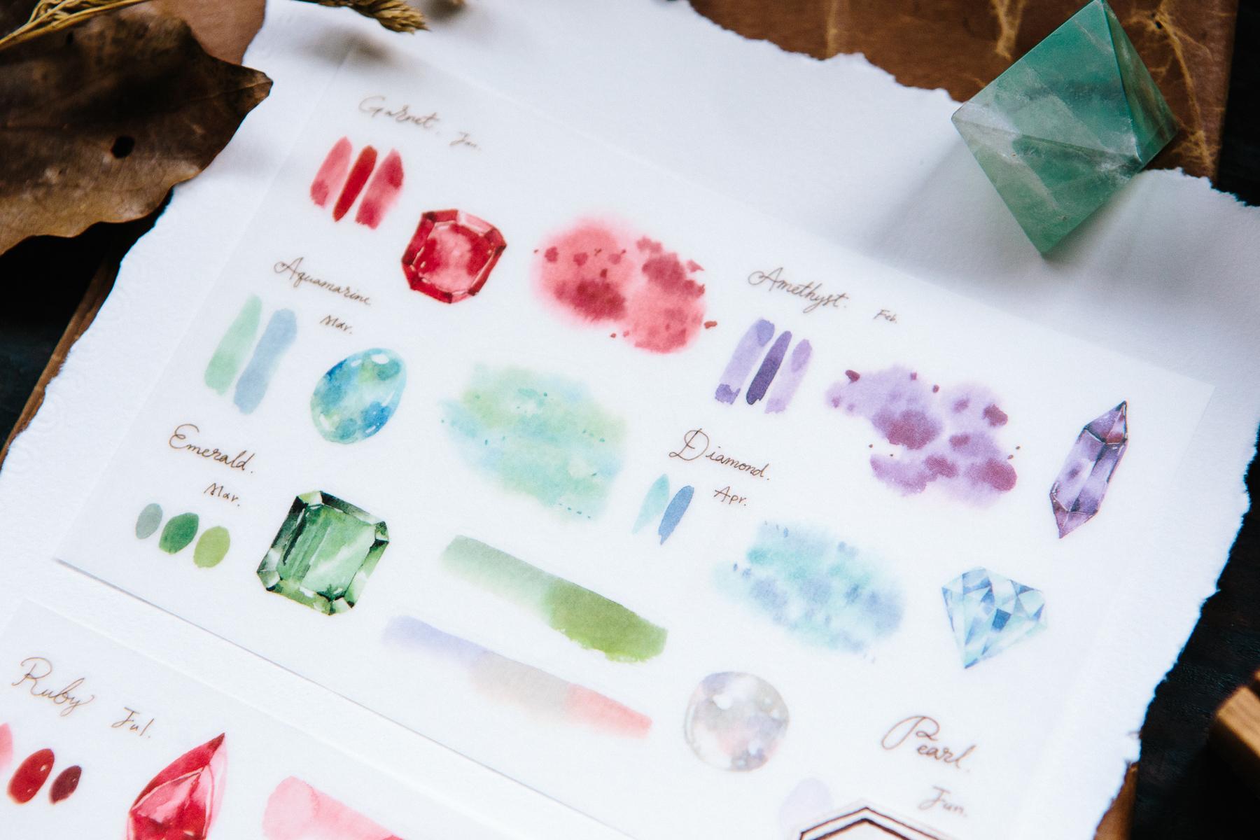 漸層寶石 轉印貼紙