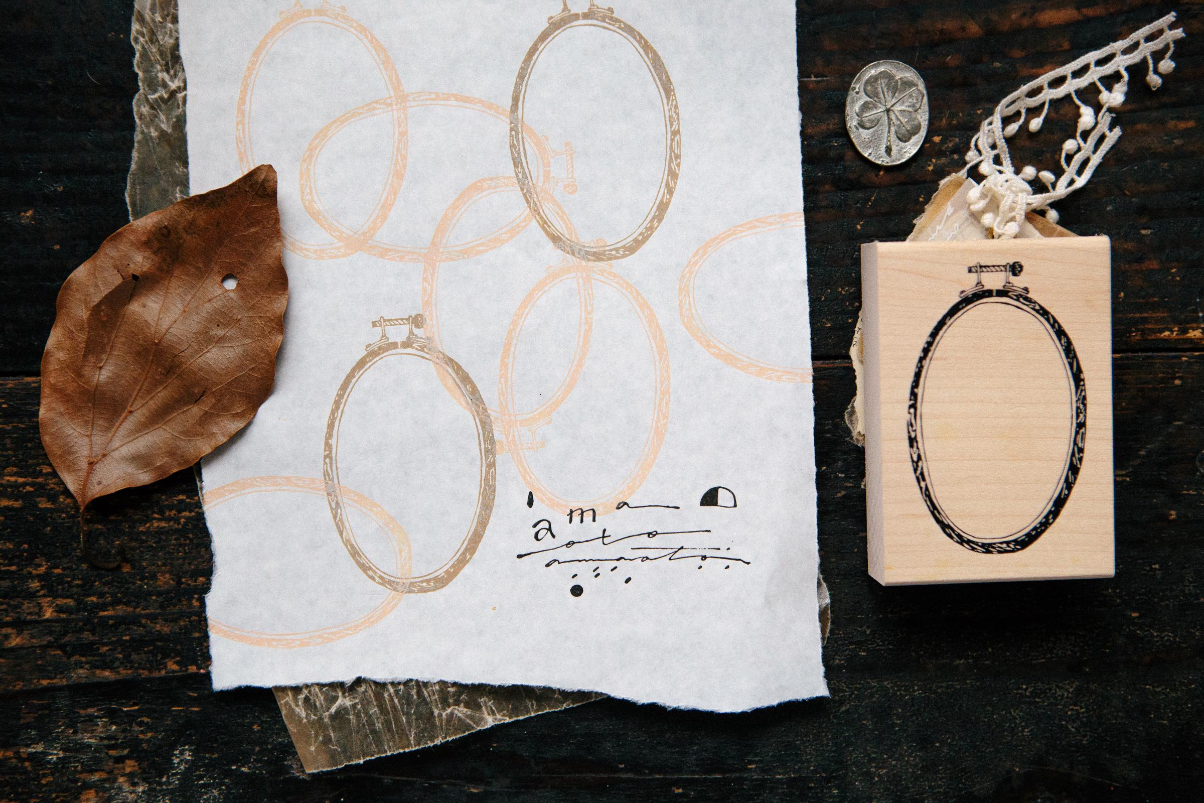 木紋綉框 楓木印章