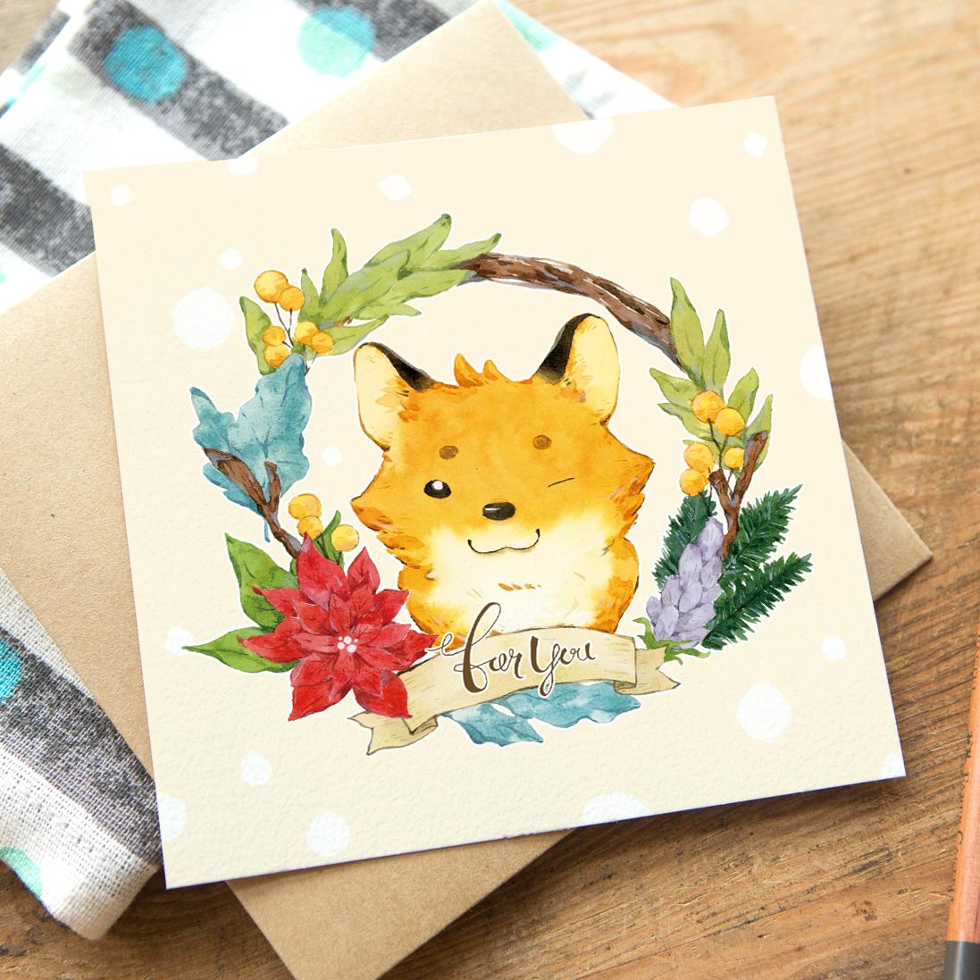 花圈問候卡片 - 狐狸