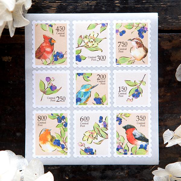 Birds Central Post Stamp Style Sticker