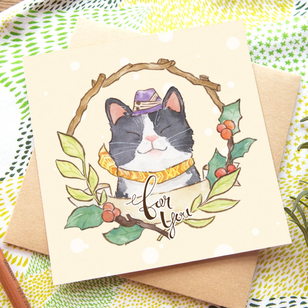 花圈問候卡片 - 黑白貓