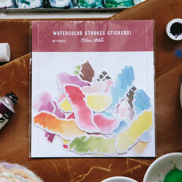 Watercolor Strokes Sticker Pack