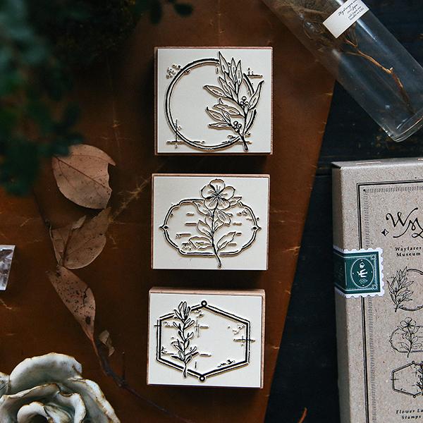 Flower Label A DIY Rubber Stamp Set