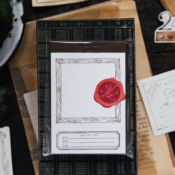Wooden frame letterpress label book