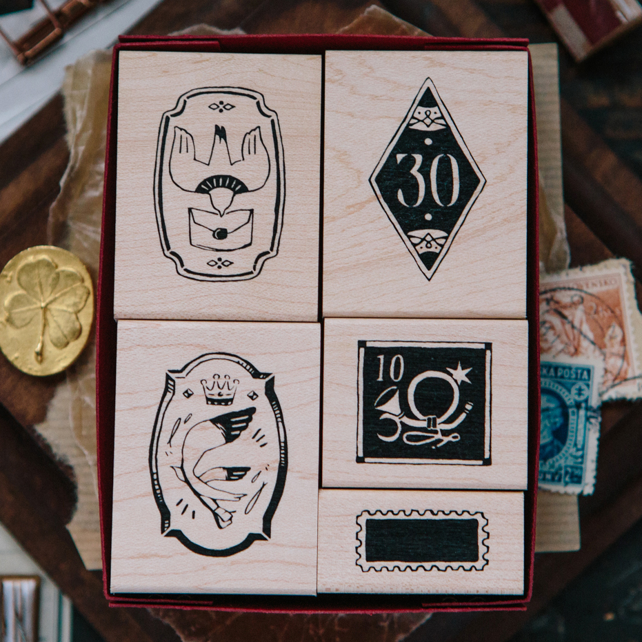Postal Maple Wood Stamp Set