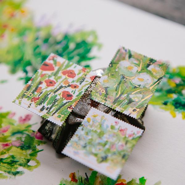 Bright Bloom Stamp Style Sticker