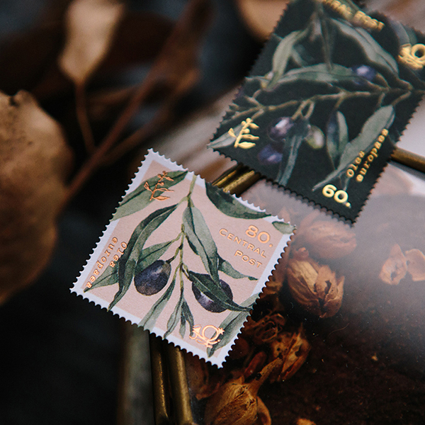 Olive Branches Stamp Style Sticker